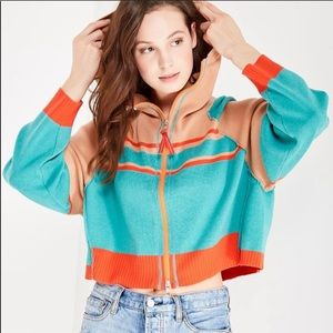 Free People Stripes for days hooded zip up sweater